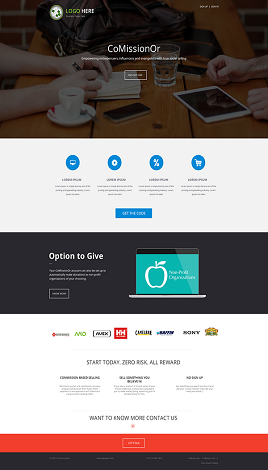 Comissionor landing page